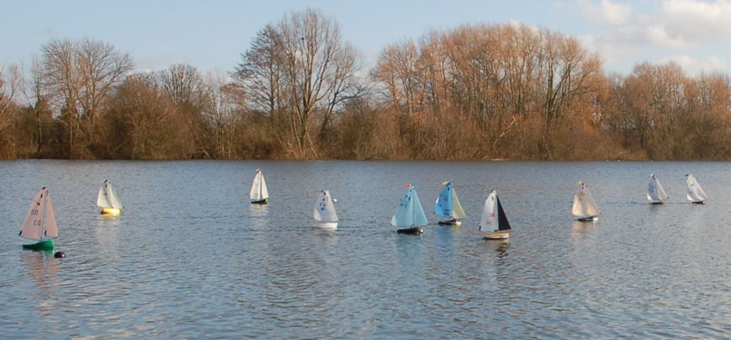 The fleet just after the start of a race.