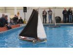 A traditional Dutch sailing barge on the large indoor pool.