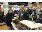 Judge David Abbott in discussion with Keith Reynolds on the Victoria Model Steamboat Club stand.