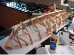 Photo 5 The Depron jig and basic hull frame of Victoria.