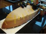 Photo 7 Victoria's bottom is now skinned. It will be painted, so standard plywood is supplied