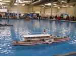 The boat pool and one of the model Rhine paddle steamers.