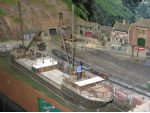 A railway diorama with a maritime theme.