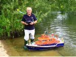 Mike Gunn is one of the founder members of King Lear MBC seen here with his model of RNLB David and Elizabeth Acland.