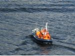 The Clyde class RNLB Charles H Barrett approaching what appears to be a tidal wave!