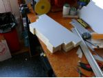 The superstructure top deck is from litho plate (an aluminium based printing material) and will be glued to a polystyrene foam core.