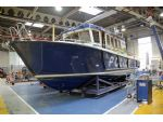 The Targa 37 Logistics Support Vessel Patrick Colquhoun in the maintenance and repair shop.
