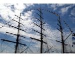 A tracery of rigging. The Brazilian sail training ship Cisne Branco evokes the clipper ship era.