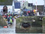 The launch slip, pit area, cafe, competitors and spectators at Penzance.