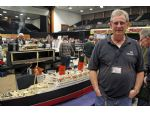 Mick French of Cornwall Showboaters with the impressive model of Queen Mary constructed by the late Wilf Burrows.