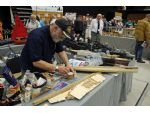 An HMS Hood Hachette Partworks Ltd. series kit under construction on the Cornwall Showboaters stand. Demonstrating how model boats are built is always a big attraction.