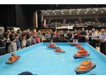 No less than eight different lifeboats were afloat on the pool at once!